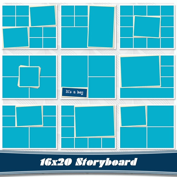 storyboard set of 9 collage template psd 16x20 photo collage etsy