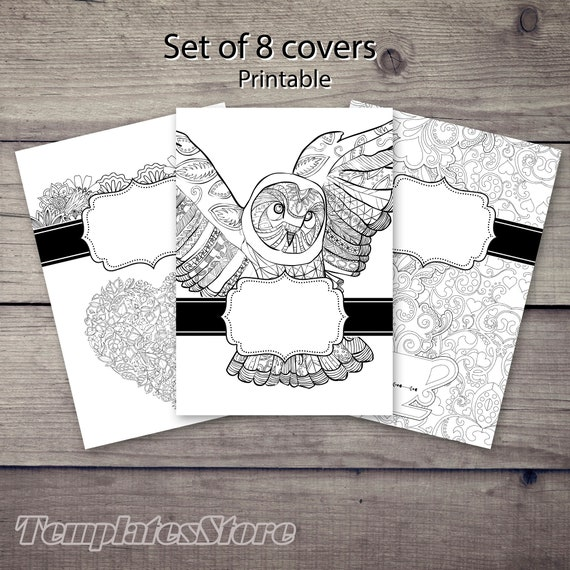 binder covers coloring pages set of 8 printable pdf coloring etsy binder covers coloring pages set of 8 printable pdf coloring pages adult coloring book a5 a4 letter half letter coloring printable pages