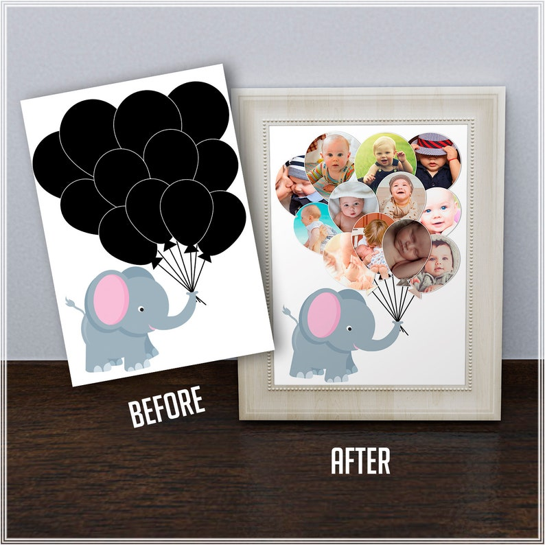 A3 Photo Birthday Collage,Elephant wall poster, Nursery wall art, Photoshop  Template, baby photo, photo girl, Babys First Year