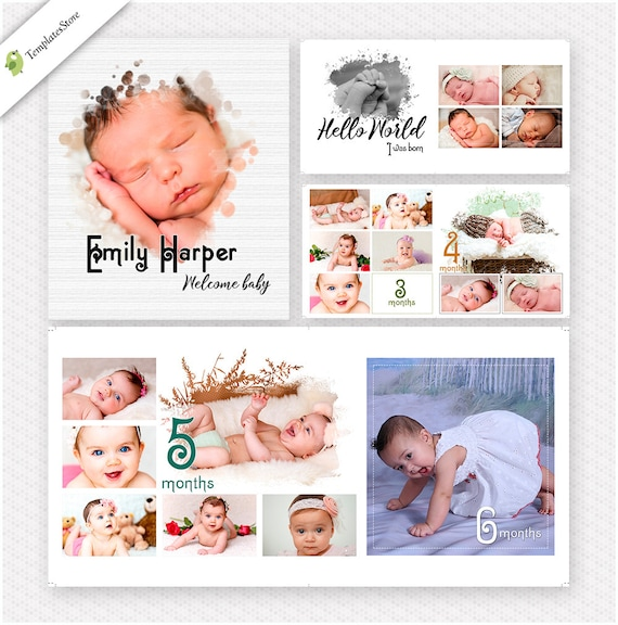 baby first year photobook template 12x12 7 spread 14 pages etsy