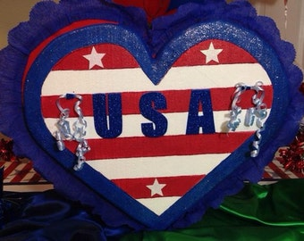 Patriotic Heart Pinata. July 4. Party Decorations and Supplies