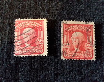Vintage 2 Cent George Washington US Postage Stamp Red Lot Of Cancelled Antique