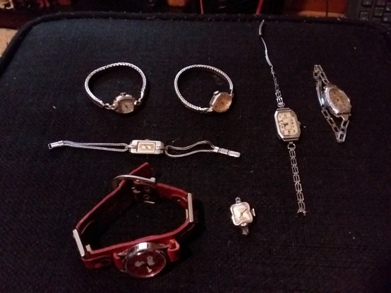 Vintage Wrist Watch Lot 7 Total Parts Repair