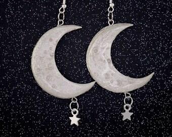 silver crescent moon earrings witch earrings Handmade Crescent Moon Studs small moon earrings clay earrings witchy crescent moon