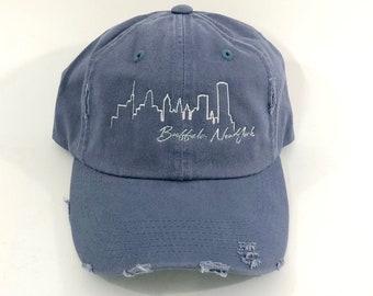 211a8d09b80075 Buffalo NY Skyline Hat, Embroidered Baseball Cap, New York, Distressed