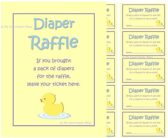 diaper raffle ticket printable gender neutral baby shower etsy