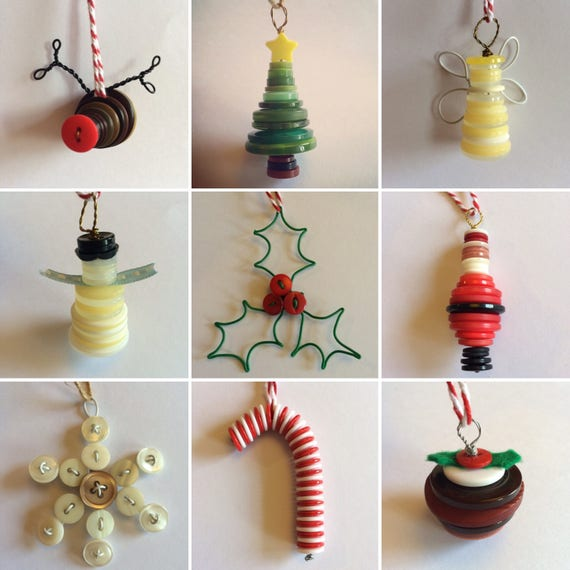 Button Christmas Decoration- tree, snowman, robin, candy cane, angel lots more to choose from!