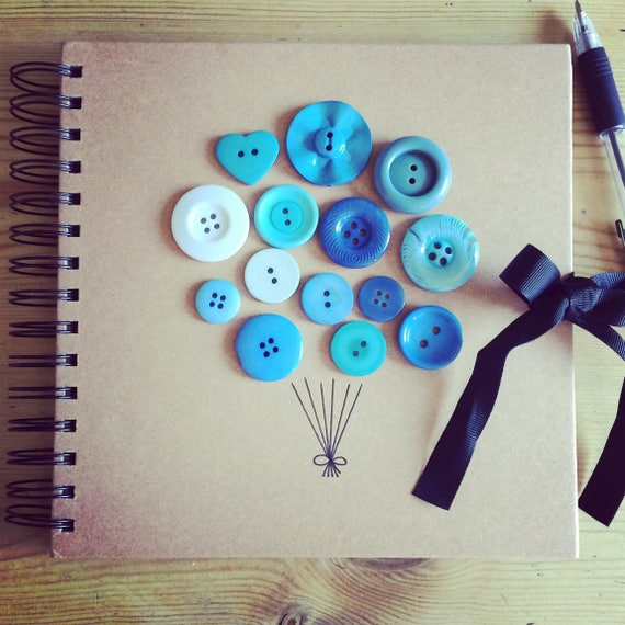 Button Balloon Celebration Book (can be personalised) perfect photo album/guest book/scrapbook for baby shower, christening, naming day