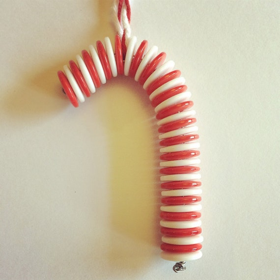 Candy Cane Button Christmas Decoration
