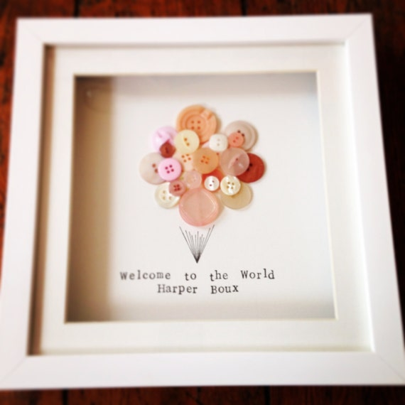 Balloon Button Frame- perfect gift for a bew baby, birthday, christening or naming day  Cute, upcycled, bespoke frame