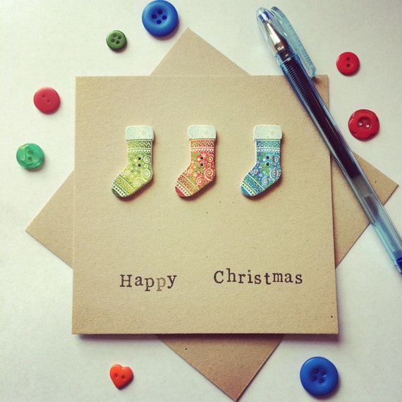 Christmas Stocking Card made from upcycled buttons