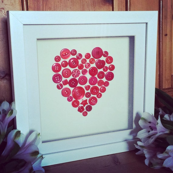 Button Heart Frame - ideal Valentine's Day, Engagement, Wedding or Anniversary Gift - can be personalised