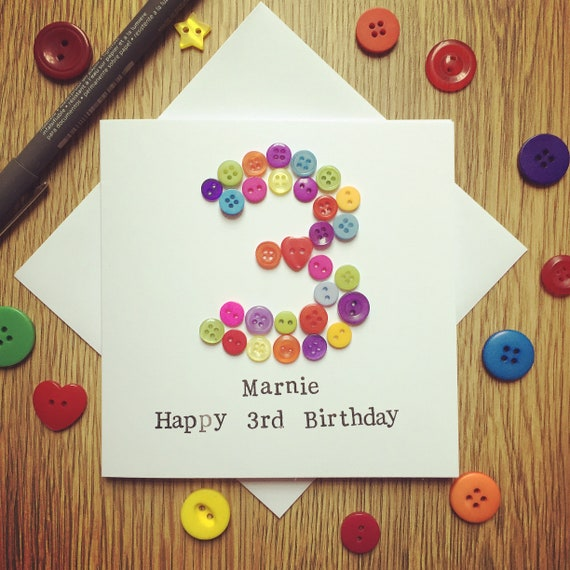 Bespoke Button Age Birthday Card 1st 2nd 3rd 4th 5th 6th 7th 8th- can be personalised