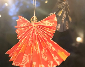 4 Origami Angel Christmas Decorations
