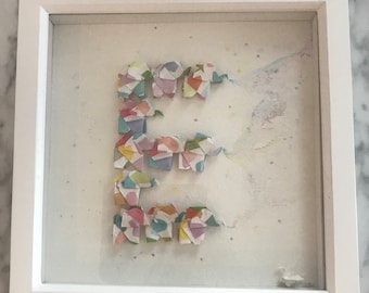 "Baby nursery decor letter ""E"" mini origami elephants and watercolour piece"