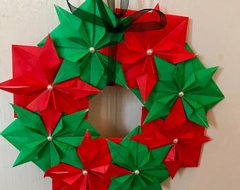 Christmas Origami Flower Wreath