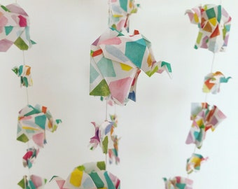 Origami Elephant Baby Mobile