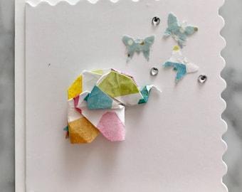 Mini Origami Elephant Card