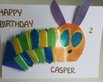 The Hungry Caterpillar Inspired Personalised Origami Birthday Card