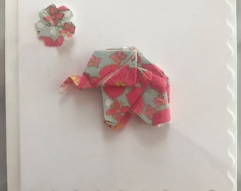 Mini origami elephant card from handmade chiyogami paper