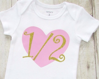 Half Birthday Shirt 1 2 Outfit 6 Month Baby