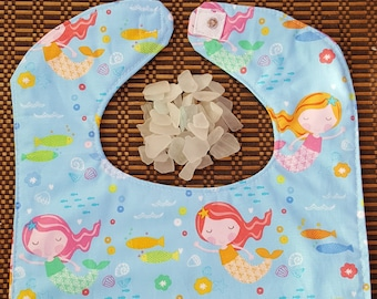 Baby's and Toddlers cotton snap bib - Mermaids and Fish
