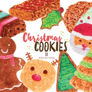 Christmas Cupcakes 7 Elements Clip Art PNG for Invitation Blog New Year,Watercolor Graphics,Scrapbook Watercolor Cake DIY Greeting Card