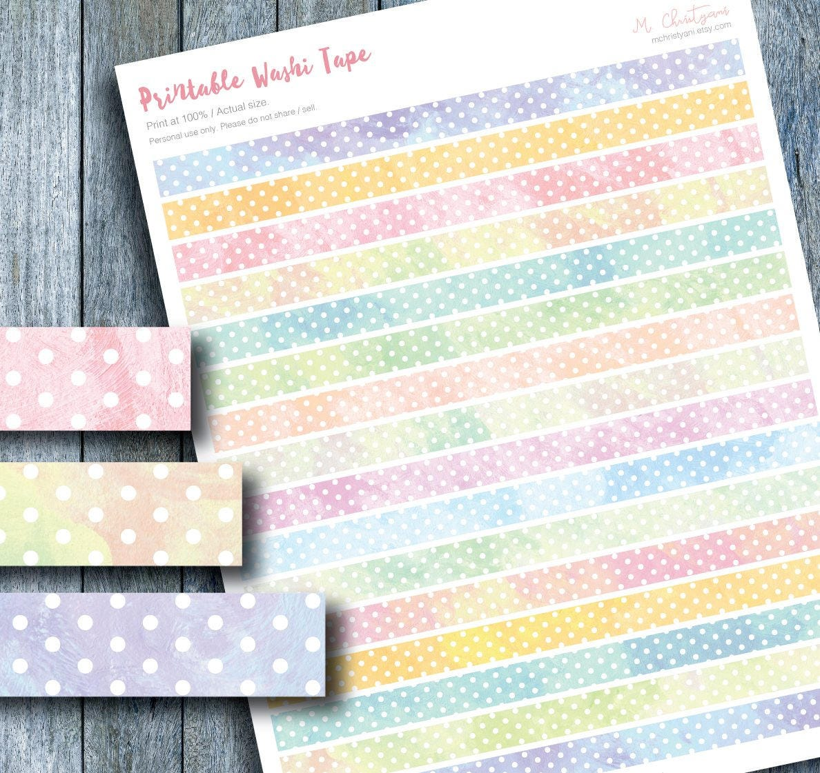 graphic about Free Printable Washi Tape identified as Hand Painted Watercolor Polkadots Printable Washi Tape Stickers for Planner, Erin Condren, Planner Extras, Pastel Colour Stickers