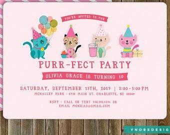 Kitten, Cat,  Birthday, Purrfect, Invitation, Invite, Pink, Stripes, Girl, Printable, 5x7, 4x6
