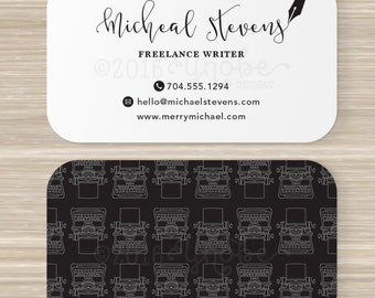 Writer business card etsy freelance writer copywriter editor business card black white 35 x 2 custom script pen ink typewriter colourmoves