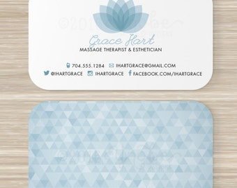Esthetician business cards etsy spa massage therapist esthetician business card vistaprint 35 x 2 lotus flower geometric triangle pattern colourmoves