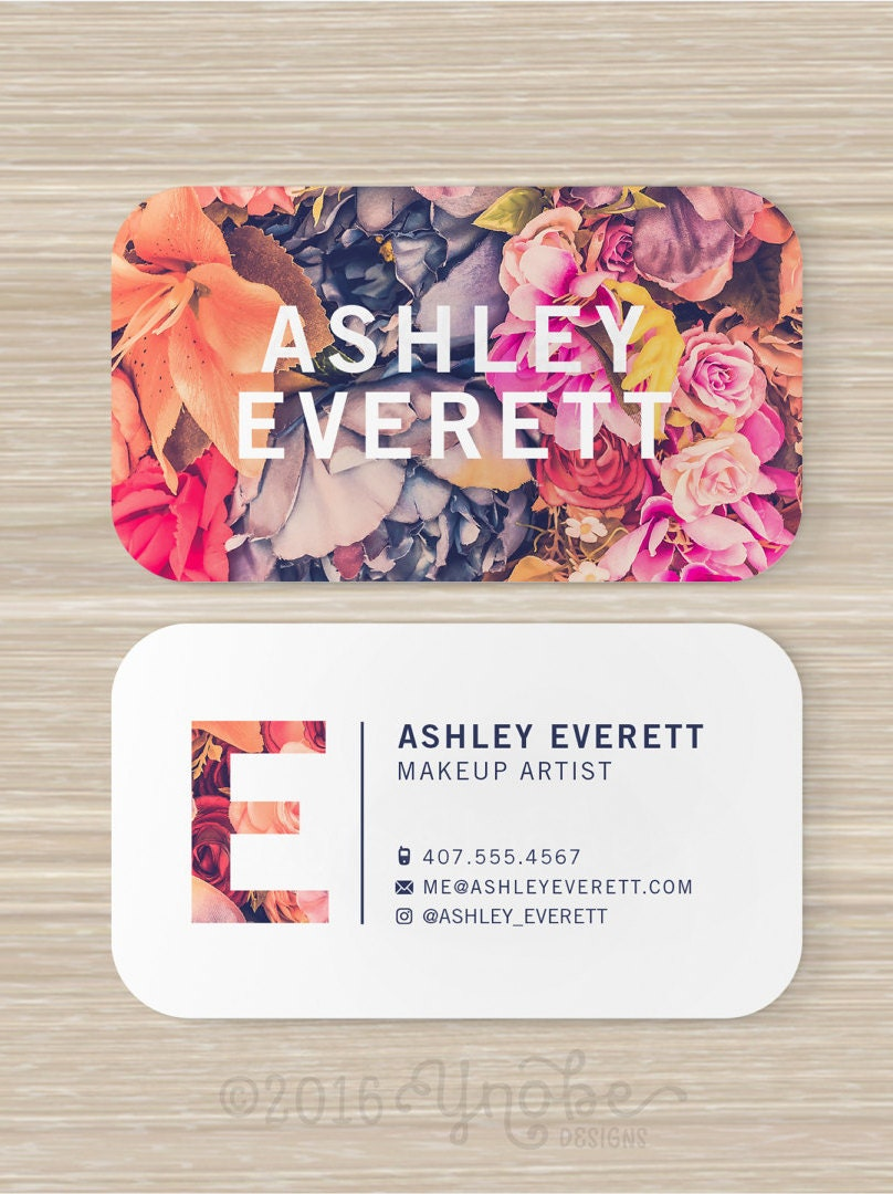 Tarjeta de visita floral flores artista de maquillaje | Etsy