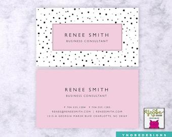 Spa massage therapist esthetician business card polka dots pink business card florist artist make up artist stylist fashion vistaprint 35 x 2 reheart Gallery