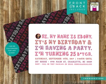 Scribble, Doodle, Text, Typography, Style, Party, Invitation, 5x7, 4x6, Stripes