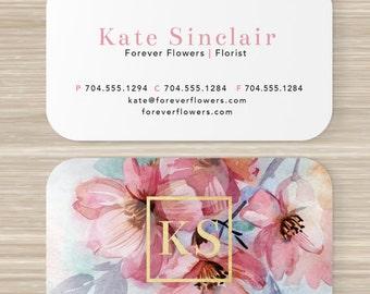 Floral Business Card, Faux Gold Foil, Florist, Flowers, Pink, Artist, Make Up, Color, Stationary, Vistaprint, 3.5 x 2