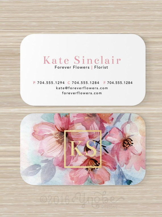 Floral Visitenkarte Faux Goldfolie Blumengeschäft Blumen Rosa Künstler Schmink Farbe Stationär Vistaprint 3 5 X 2