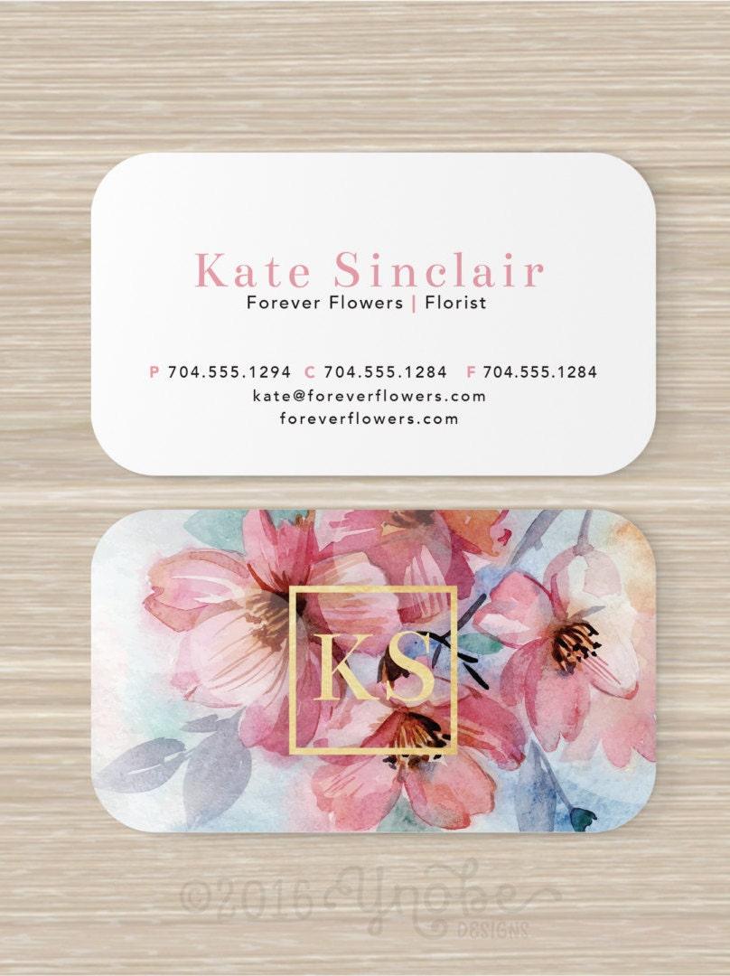 Floral tarjeta de visita hoja de oro falso Floreria flores | Etsy