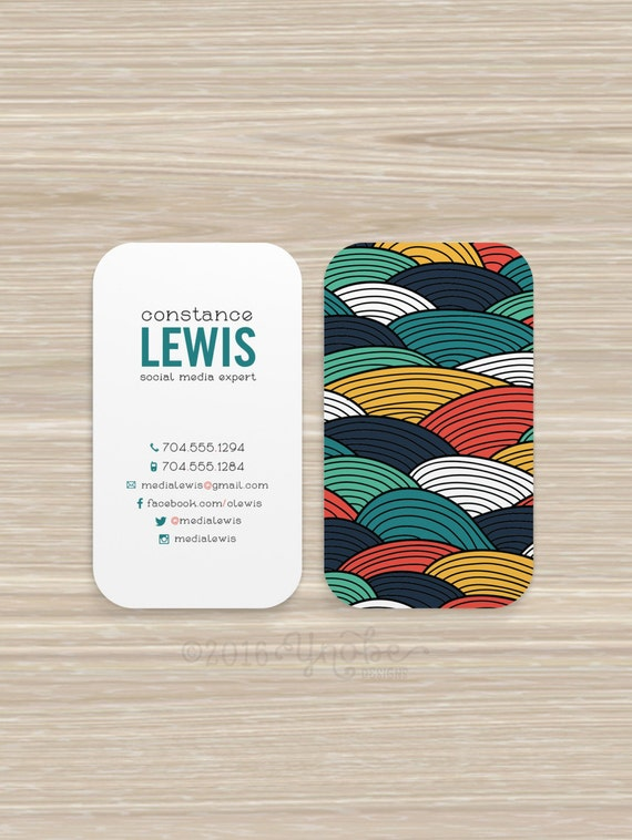 Colorful Wave Green Blue Social Media Business Card Vistaprint 3 5 X 2
