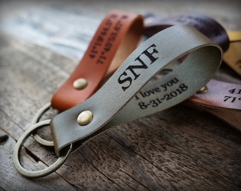 Leather Key Fob, Personalized, Leather Keychain, Christmas Gift, Custom Gift, Engraved Keychain, Personalized Gift, Husband Gift,Anniversary