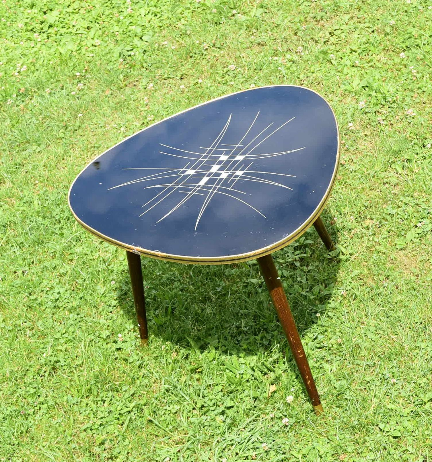 Glass Coffee Tables New Zealand: Kidney Table 50s Coffee Table Black Glass Plate