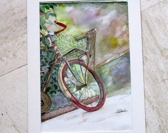 Old bicycle, Watercolor painting, Shabby chic, French country cottage, Wall decor, Vintage bike painting, Farmhouse, Rustic, Artist's studio