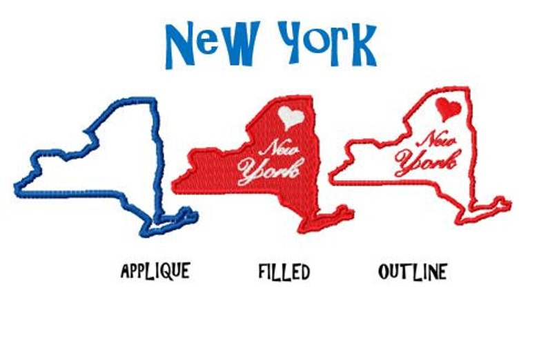USA State New York Map Embroidery Design Pack, Outline Sch, Filled on