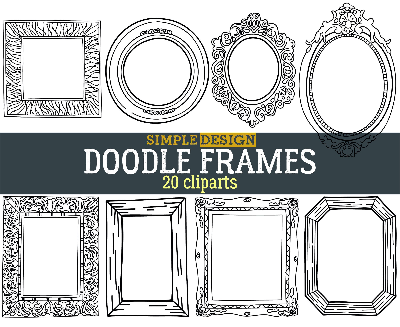 Doodle Rahmen Rahmen Clipart digitale Bilderrahmen | Etsy