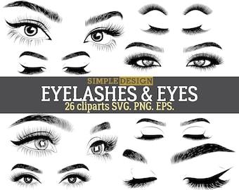 Eyelashes SVG, Lashes SVG, Eyes SVG, Eyebrow svg, Eyelashes clipart, Lashes clipart, Eyes clipart, Sleep eyes, Closed eyes, svg bundle.