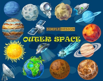 Space clipart, Outer space clipart, Planet clipart, Solar System Clipart, Digital Planets clipart, Planets Clipart, Solar System