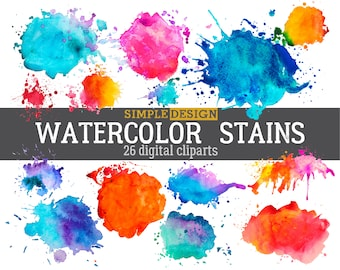 Watercolor stains, Watercolor clipart, Watercolor splashes, Watercolor shapes, Watercolor clip art, Watercolor splatters,
