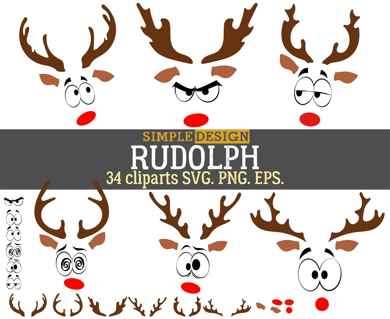 Rudolph Weihnachten Rentier SVG Rentier Gesicht SVG | Etsy