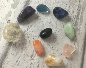 Beginners crystal kit, tumblestones, must have crystals, crystal healing, crystals, amethyst, sodalite, carnelian, tourmaline,