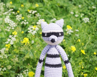 Crochet Raccoon amigurumi crochet toy, crochet doll, crochet plush toy, crochet stuffed animal, crochet animals, amigurumi toy, handmade toy