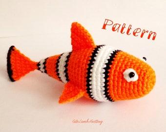 Crochet pattern, crochet clown fish pattern, crochet clown fish, crochet clownfish, amigurumi pattern, crochet plush animal crochet animals